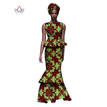 2020 New African Dresses For Women Dashiki Ladies Clothes Ankara O-Neck Africa Clothes Two Pieces Set Natural 6xl None WY1054 - 3, M