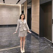 Grey Plaid Suit 2019 Fall New Korean Women Single Breasted Notched Striped Jackets and Coats Clothes