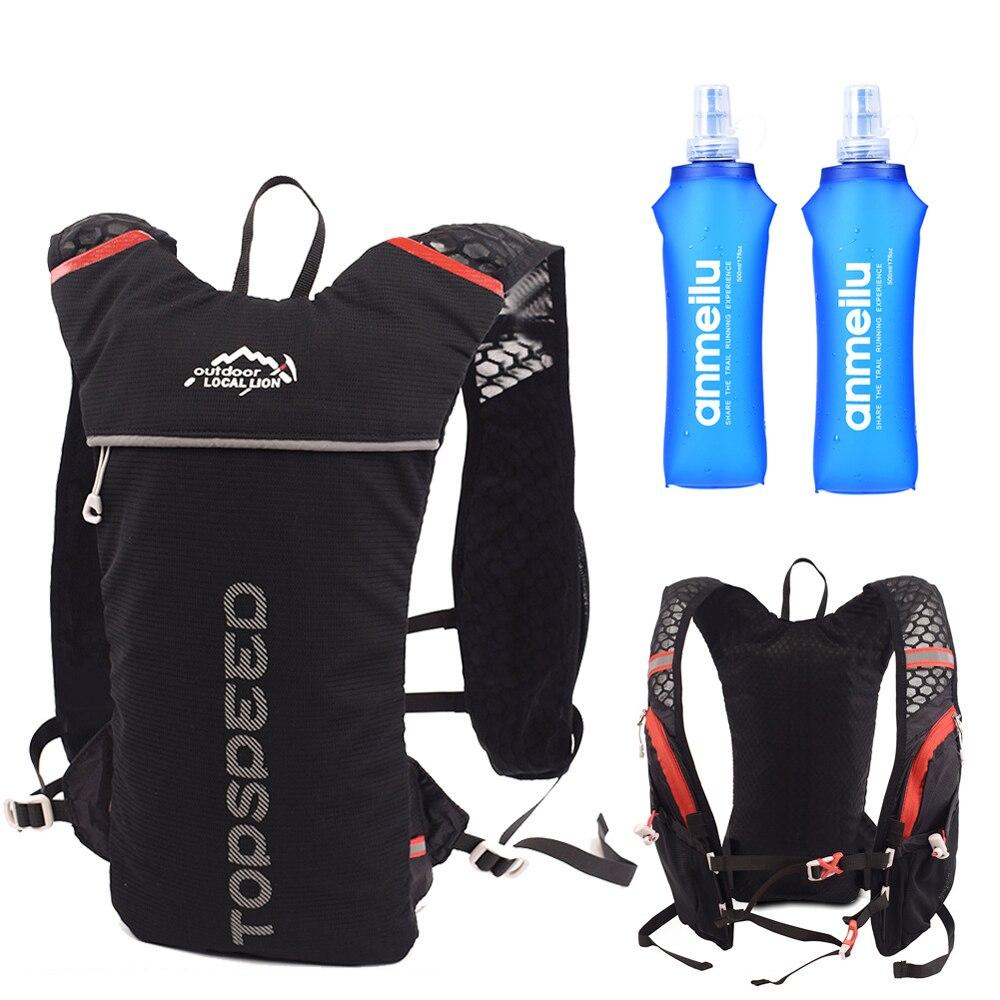 Mochila leve correndo colete saco de náilon trail ciclismo maratona portátil ultraleve caminhadas 5l opção 2l saco água e garrafa