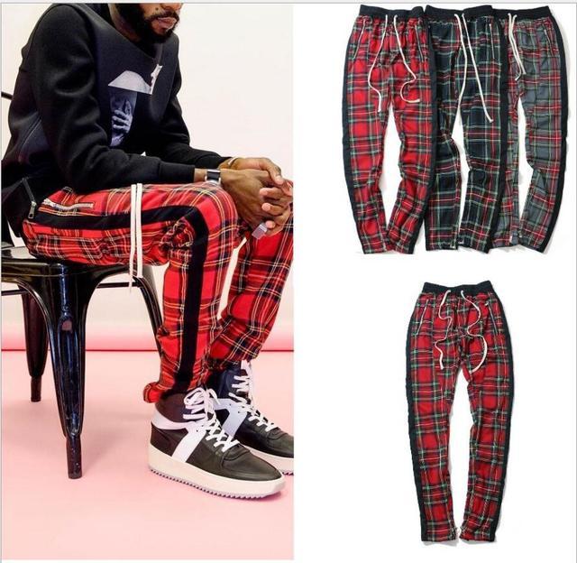 בציר סקוטי משובץ רצים מכנסיים Mens Tartan מסלול מכנסיים ג סטין ביבר שרוך קרסול רצועת Zip תיקון מכנסי טרנינג היפ הופ