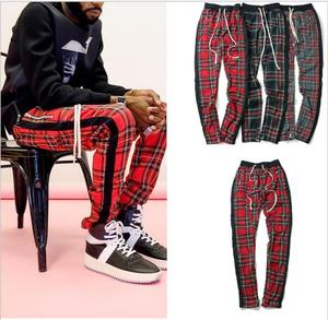 Image 1 - Vintage Scottish Plaid Joggers Pants Mens Tartan Track Pants Justin Bieber Drawstring Ankle Strap Zip Patch Sweatpants Hip hop