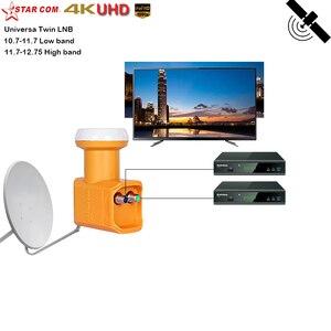 Image 2 - Starcom Универсальный LNB DVB S/S2 с высоким коэффициентом усиления, низкий уровень шума, 0,1 дБ, ku диапазон, двойная LNB тарелка, TV HD ku диапазон LNBF для спутникового приемника