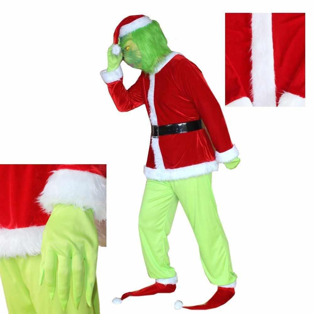 Boys The Grinch Hoodied Costume Halloween Christmas Santa Cosplay Fancy Costume