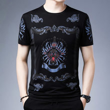 2021 summer new men's short-sleeved T-shirt eagle print graffiti pure cotton casual half-sleeved T-shirt top