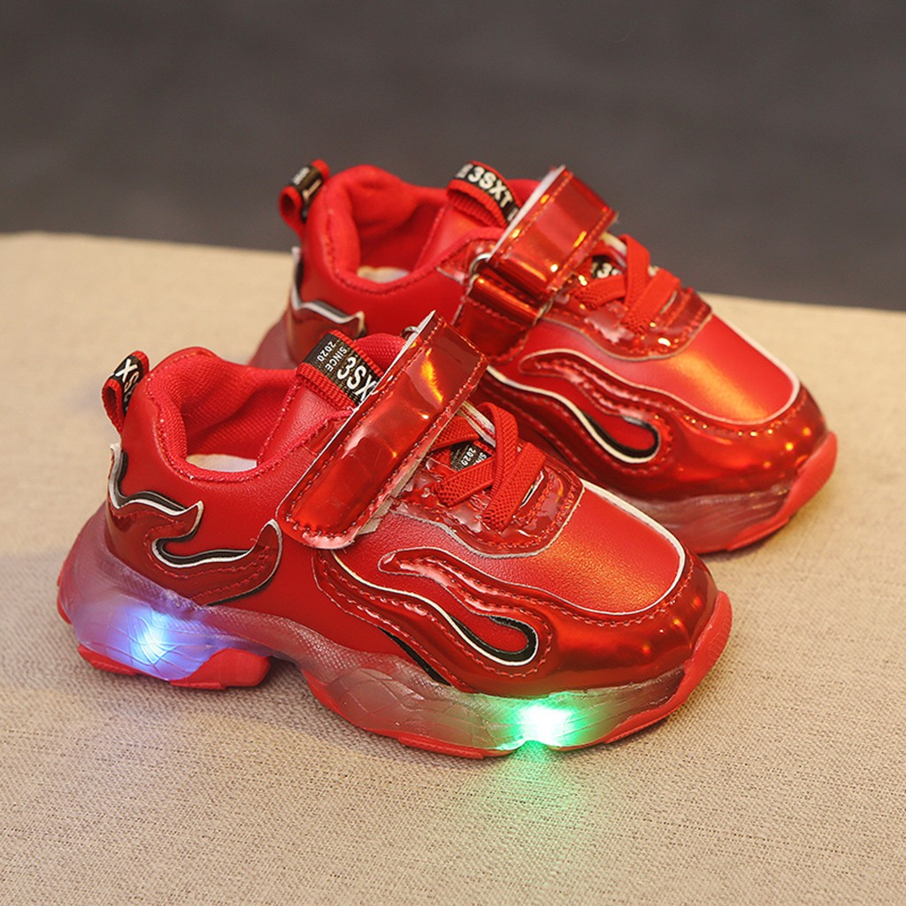 Kids Boys Girls Sport Shoes Mesh Trainers LED Luminous Casual Athletic Sneakers