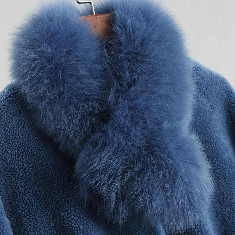 2020 frauen Echt Wolle Pelz Mantel Lange Warme Winter Weibliche Jacke Mit Abnehmbaren Fuchs Pelz Schal Kragen Oberbekleidung 18040WYQ1805