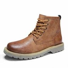 Зимние мужские ботинки; очень теплые плюшевые мужские Ботинки martin; мужские повседневные модные зимние ботильоны; мужские кожаные ботинки; мужская обувь