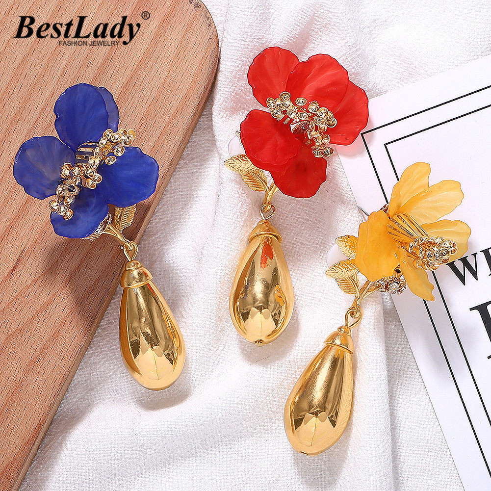 Best lady ZA Flower Metal Drop Earrings Female Wedding Jewelry Boho Cute Girl Gift Handmade Plant Statement Earring Women Party