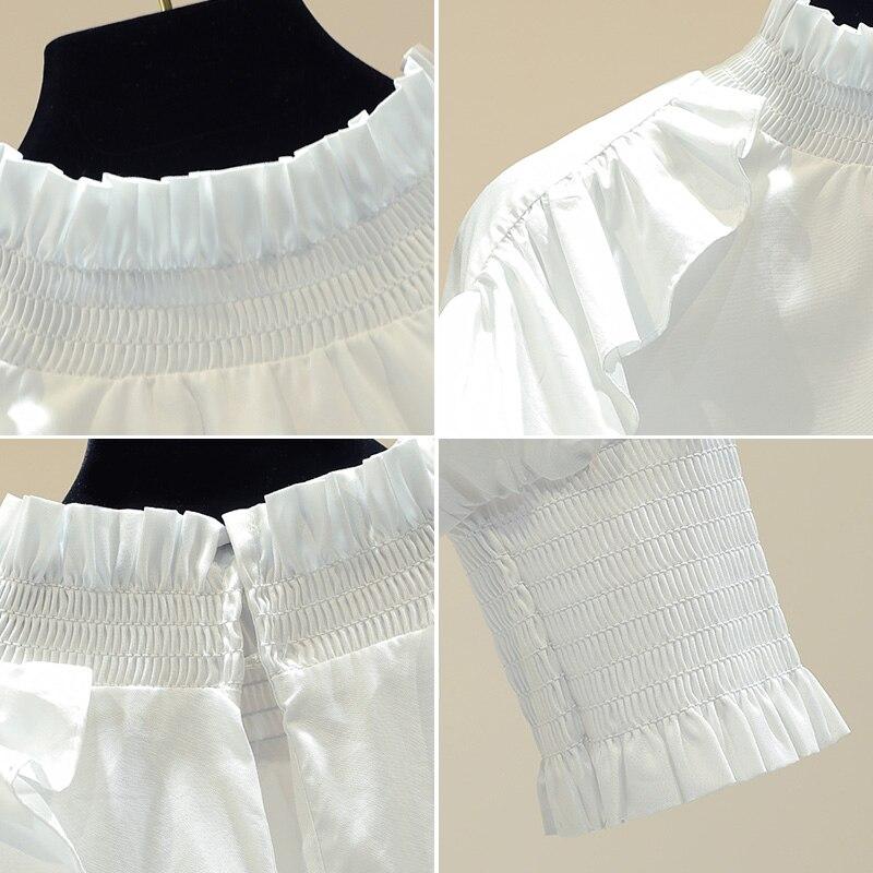 Femme printemps automne nouvelle chemise blanche lâche à manches longues Lotus feuille bord conception Blouse Blusas fille dame chemises de base Nancylim - 4