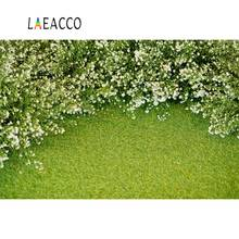 Laeacco Green Blossom Flower Lawn Grass Baby Child Scenic Photo Backgrounds Customized Photography Backdrops For Studio