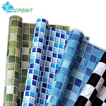 5 M/10 M impermeable PVC Auto adhesivo papel pintado cocina luz de pared para baño pegatinas azulejos pegatina mosaico patrón película decorativa