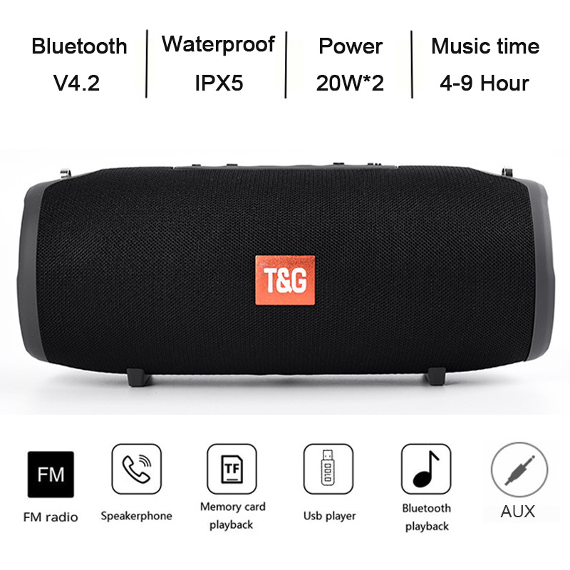 TG118 Really 40W Bluetooth Speaker Portable Column Music Player Sound System Boom Box with FM Radio TF Subwoofer Double 2