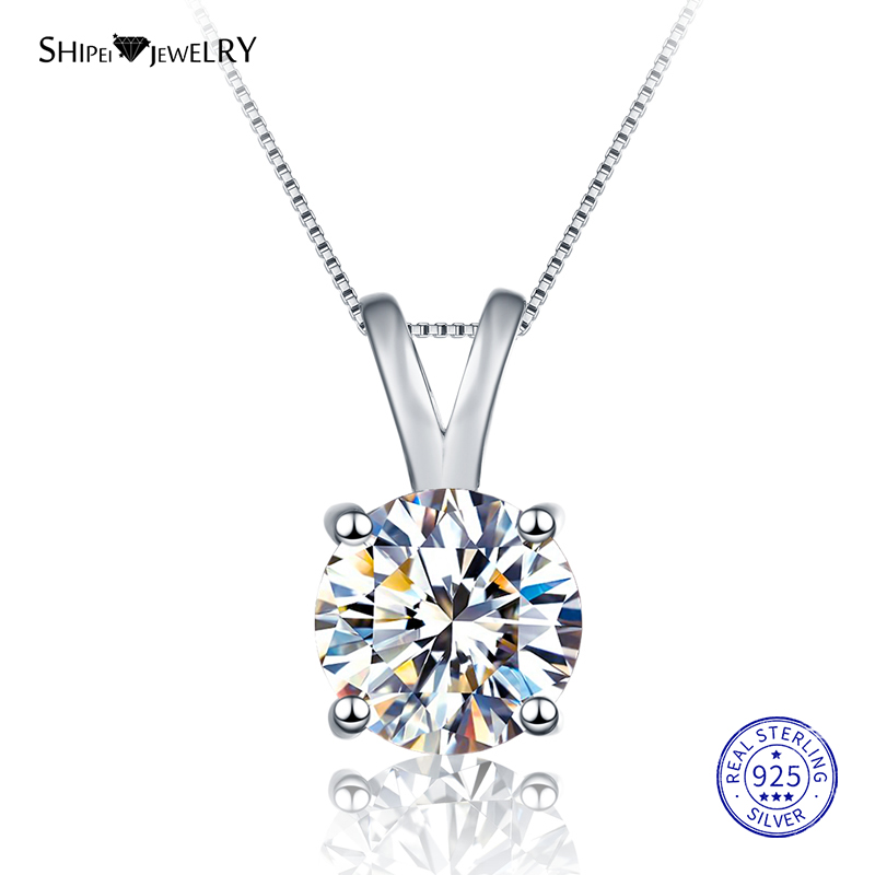 Shipei 100% 925 Sterling Silver Necklace Fine Jewelry 8mm Round Created Moissianite Pendant Necklace for Women Christmas Gift