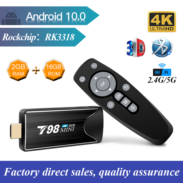 TV stick T98mini caja de TV Android 10 2GB 16GB 2,4/5G WIFI BT4.2 RK3318 Quad-Core Dispositivo de tv inteligente tienda de juegos de google TV Stick 4k