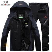 DAIWA Winter Waterproof Fishing Clothes Men\'s Suit Outdoor Hiking and Skiing Warm and Windproof Cotton Suit Plush Thick Pants