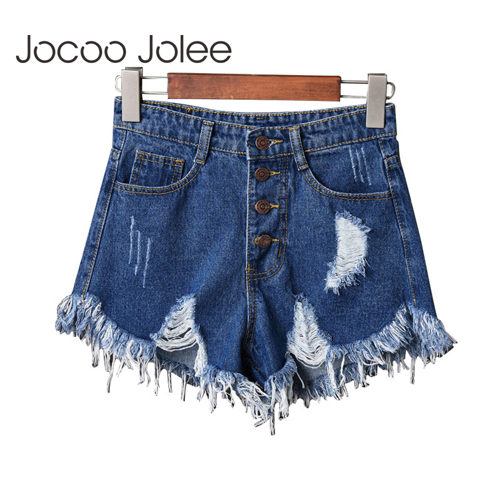 Jocoo Jolee Sexy High Waist Denim Shorts Plus Size Hollow Out Tassel Short Jeans Female Korean Style Button Fly Vintage Shorts