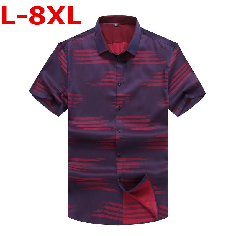 Plus Size 9XL 8XL 7XL 6X  New Summer Men Shirt Casual Men's Shirt Short Sleeve Thin Breathable Loose Blue Shirts Men Clothes