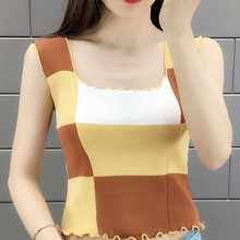 New Women Round Neck Ice Silk Knitting Tank Top Female Fashion Colorblock Tops Vest Women Summer Sexy Sleeveless Crop Top summer sleeveless women tank top high elasticity knitted ice silk top fashion ribbed knitwear sweater vest cozy female tee shirt