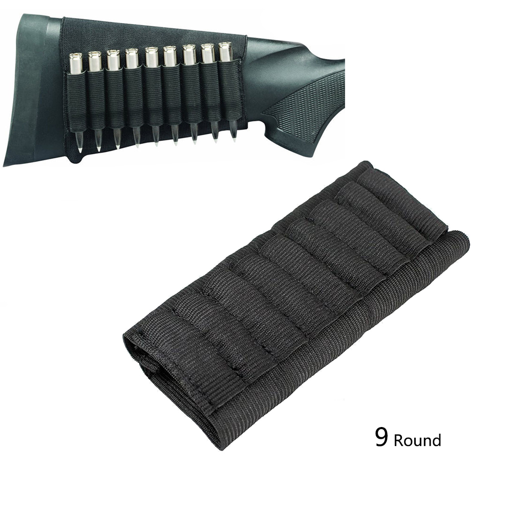 Tactical Rifle Ammo Pouch 9 Rounds Bullet Carrier Holder Ammo Carrier Bag Butt Stock Shell Cartridge Pouch