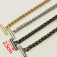 Diy 8mm Gold, Silver, Gun Black, Plating Bronze Metal Replacement Chain Shoulder Straps For Handbags, Bag Handles With Ot Clasps(China)