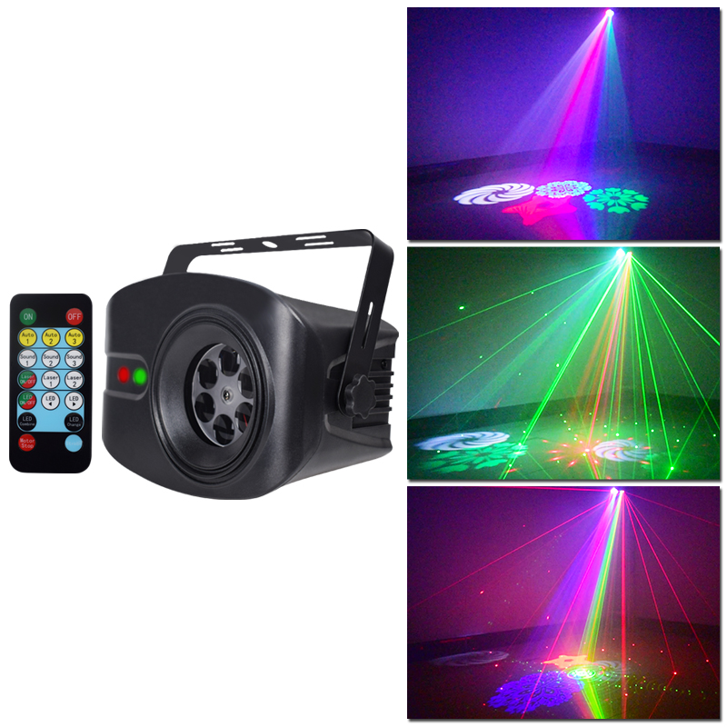 WUZSTAR LED Disco Light Music Laser Projector DJ Stage Lights RGB Luces Shine Christmas Sound Activated Rotating Strobe Light