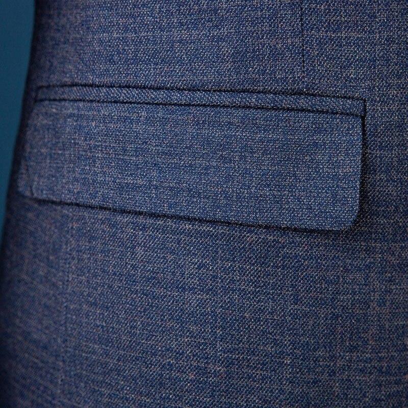 Новый приталенный мужской костюм для свадьбы жениха размера плюс 4XL 2020 джентльменский Бизнес Повседневный смокинг мужской темно серый сини... - 5