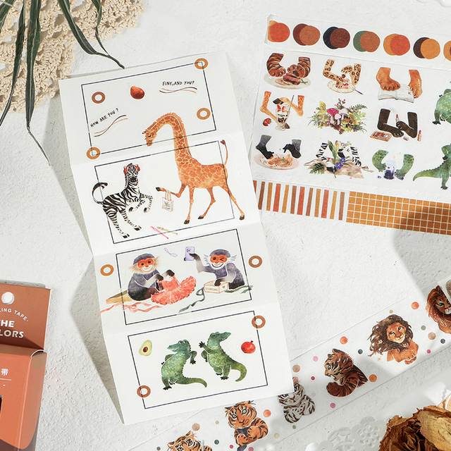 4 stücke Natur Farbe Papier Washi Band Set Dschungel Wald Berg Meer Adhesive Masking Tapes Aufkleber Tagebuch Hause DIY Dekoration f590