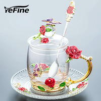 YeFine Beauty And Novelty Enamelled glass Coffee Cup Flower Tea Cups for Hot and Cold Drinks Teacup Spoon Set Perfect Gift