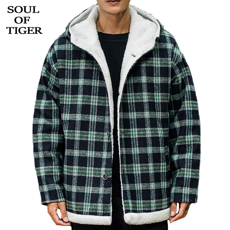 SOUL OF TIGER 2019 Korean Fashion Mens Vintage Plaid Parka Male Casual Loose Hooded Jacket Winter Warm Fur Oversized Coat XXXXXL
