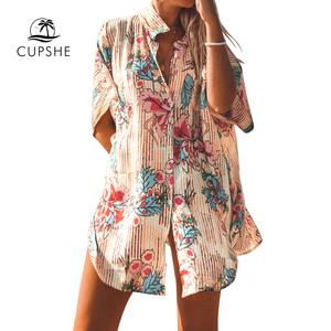 Image 4 - CUPSHE Floral Print Buttoned Cove Up Sexy Long Loose Shirt Robe Capes Women 2020 Summer Beach Bathing Suit Beachwear