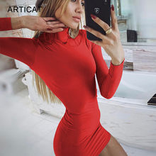 Articat Herfst Sexy Vrouwen Bodycon Jurken Lange Mouwen Coltrui Stretch Rood Mini Jurk Dames 2019 Fashion Streetwear Vestidos(China)