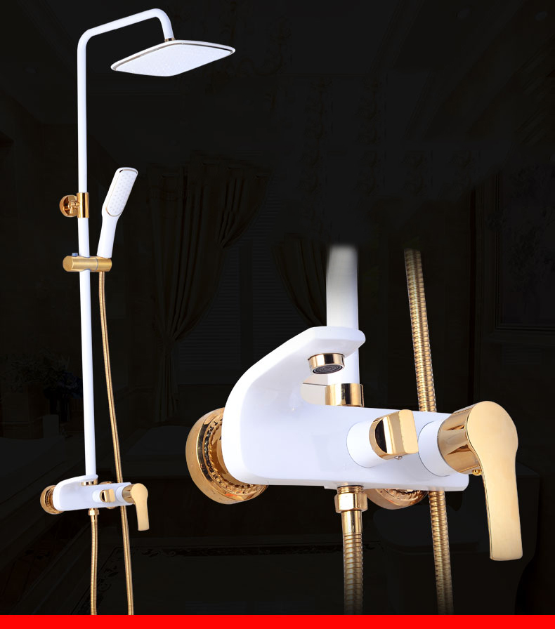 Ha77e2ab6fd6640bea74f8d99c4b83495J Shower Set SDSN White Gold Bathroom Shower System Quality Copper Brass Bathtub Faucet Rainfall Shower Head Spa Bath Shower Sets