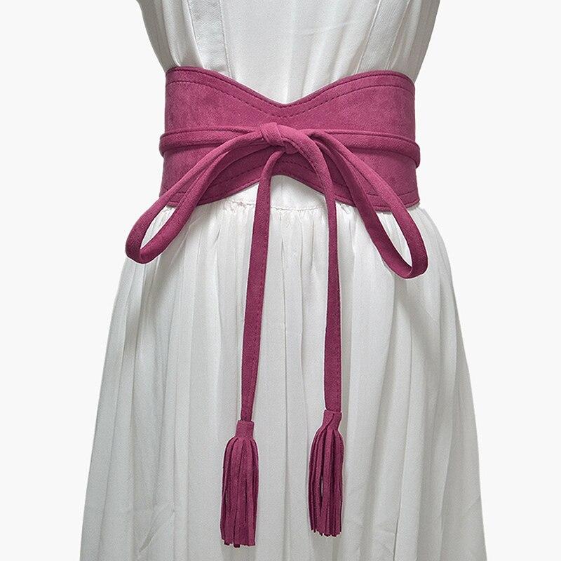 Wide Women Belt For Dress Solid Leather Bandage Bow Belt Cummerbund Tassel Waist Strap Belt Elegant Ladies Apparel Accessories