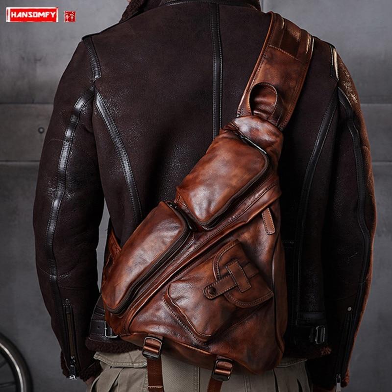 Leather Men's Triangle Chest Bag Retro Men Shoulder Slung Bag B6 Paratroopers Vintage Large Capacity Leather Soft Casual Bags