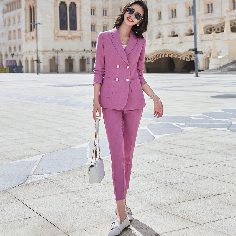 Professional women's suit work clothes high quality pants suit two-piece Autumn and winter elegant Female jacket Slim trousers