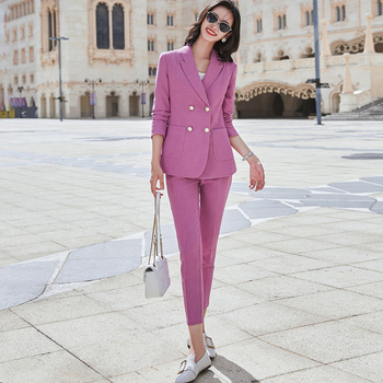 Professional women's suit work clothes high quality pants suit two-piece Autumn and winter elegant Female jacket Slim trousers factory labor work clothing jacket and pants suit house work apparel free shipping