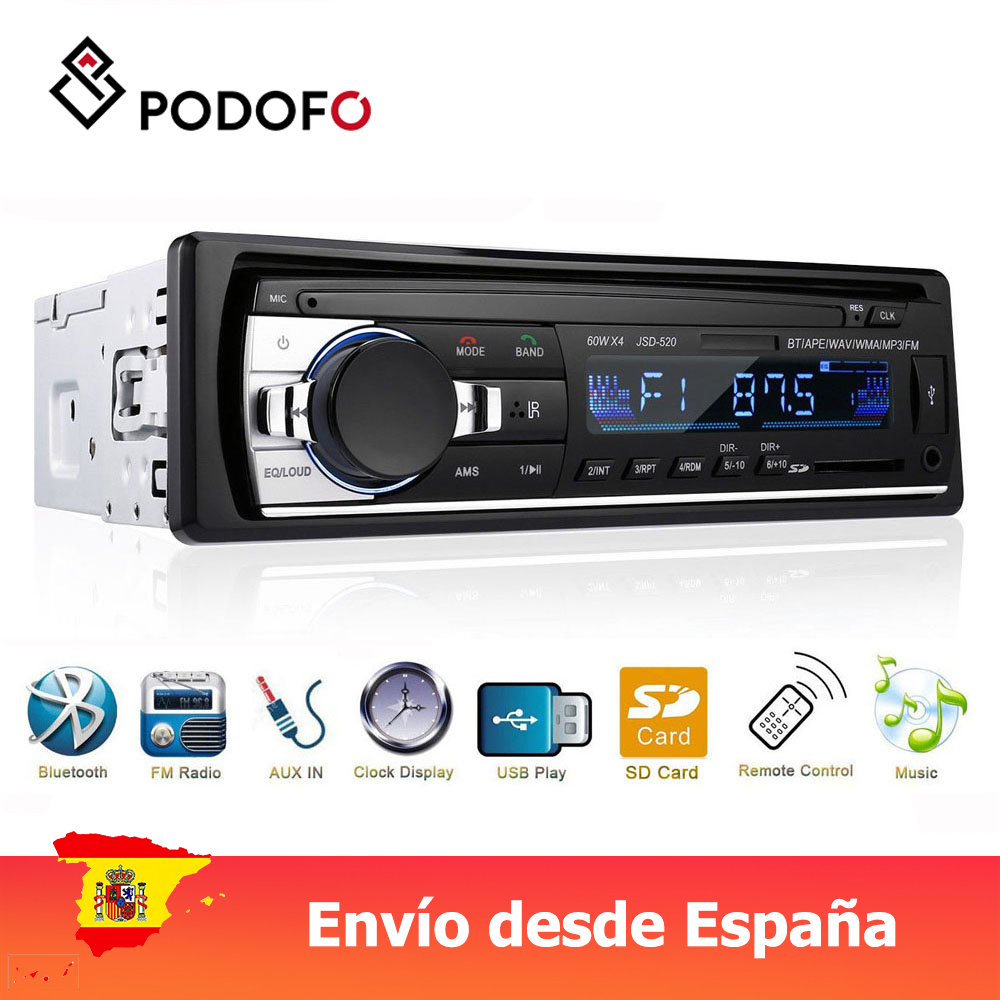 Podofo 1 Din Car Radio Digital Bluetooth Audio Music Stereo Mp3 Player USB/SD/AUX-IN Remote Control