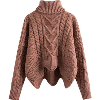 Thickened Sweater Women Mixed Knit Asymmetrical Hem Sweater Irregular Crop Tops Loose Twist Knitted Pullover Turtleneck Sweater grey chimney collar flared sleeves irregular hem sweater