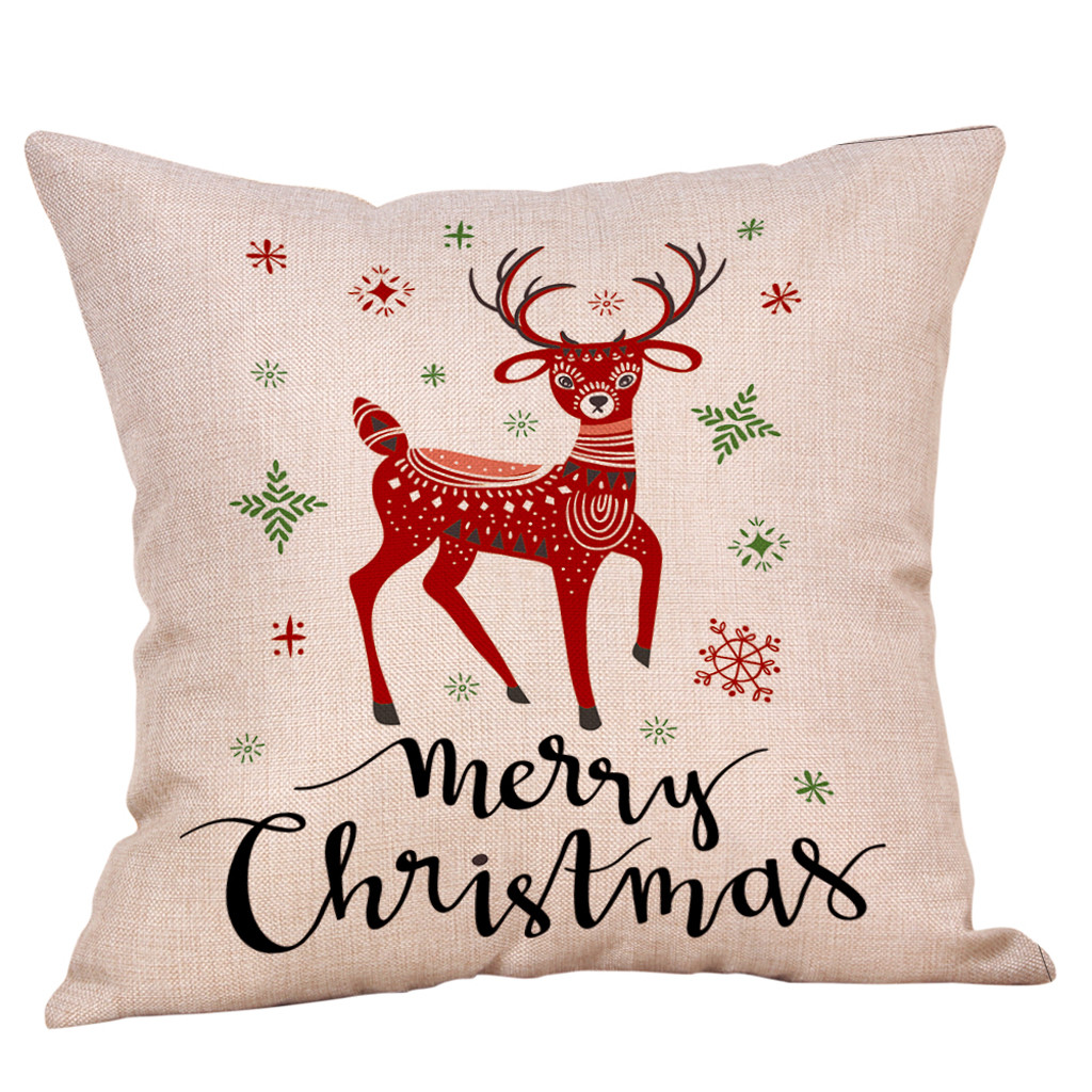 Merry Christmas Pillow Cases Cotton Linen Sofa Cushion Cover Home Decor Poszewki Na Poduszki Poszewka Наволочки На Подушки 20