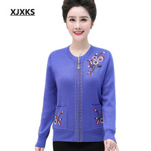 Sweater Coat Knitted Cardigan Cashmere Winter Plus-Size Women New XJXKS Autumn Embroidery