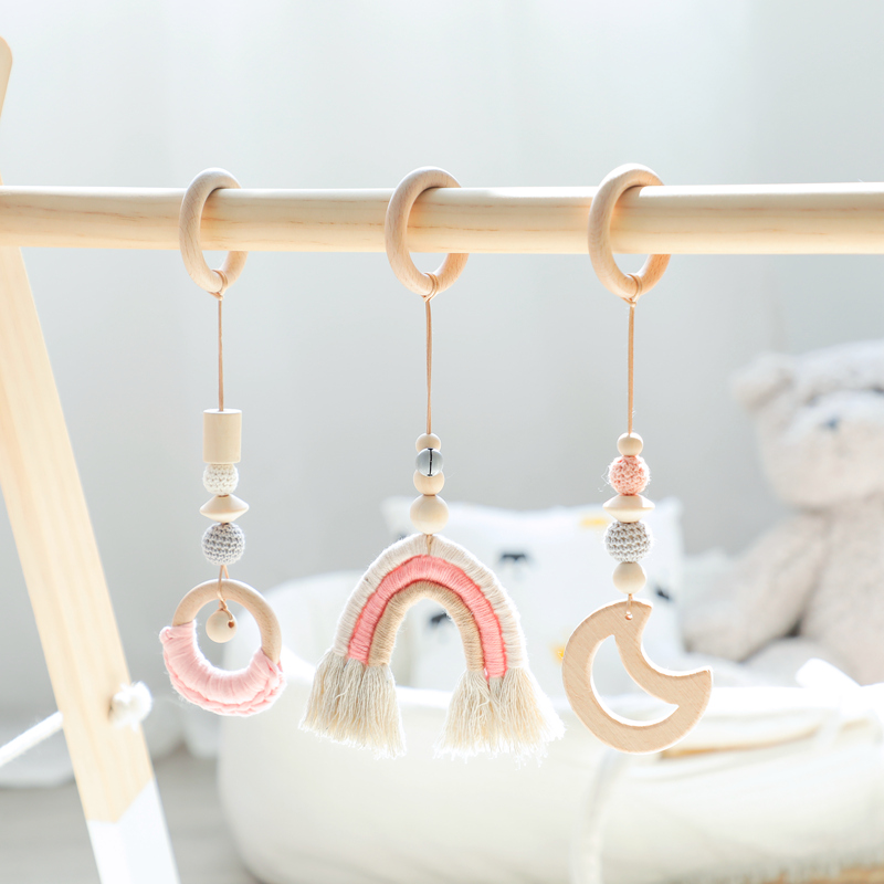 Baby Toys Rainbow Hanging Play Gym Children's Room Decoration Toy Moon Bell Montessori Birthday Baby Shower Gift Rattle 1 Set