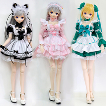 BJD Doll Clothes Maid outfit bubble skirt Lovely ears Pink Black Green Dress doll hairpin DDM/DDL 1/3 Custom Doll Accessories