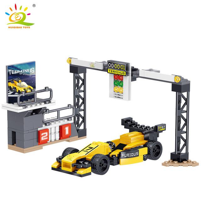 HUIQIBAO 336pcs Speed Champions Racing Car Podium Building Blocks city Automobile Sport Car racer man Bricks toys for Children