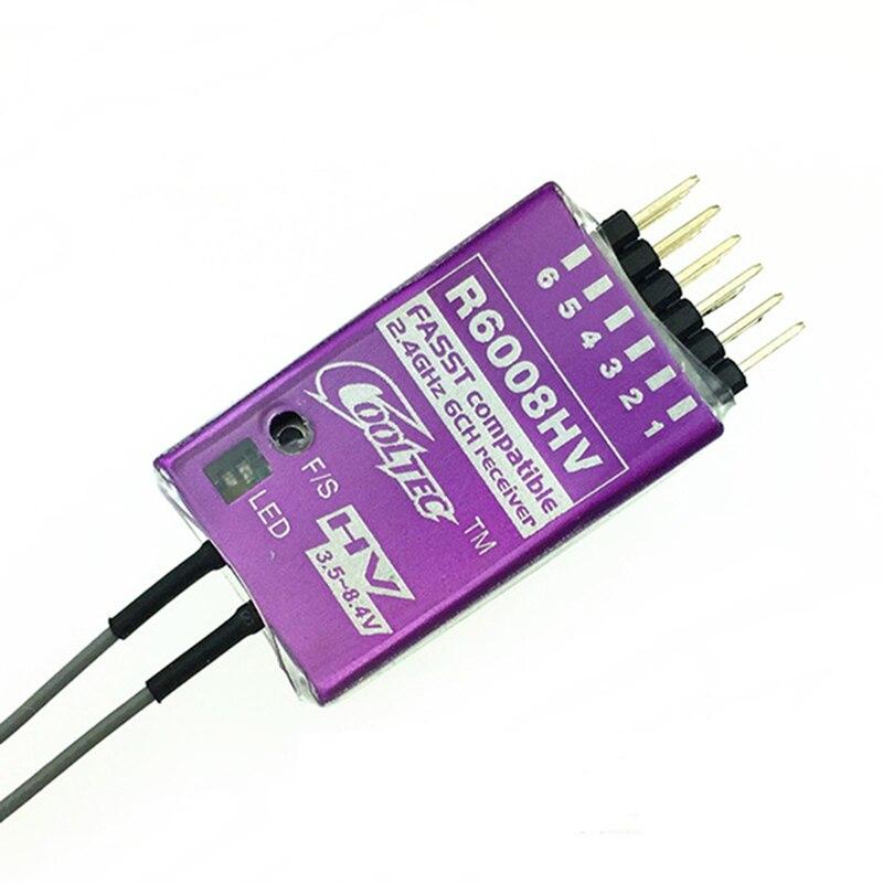 Cooltec nouveau Mini R6008HV FASST 2.4G 6Ch récepteur Futaba Compatible avec coque métallique pour T8FG, T10C, T12Z, T14MZ, 3PK, 4PK Radio