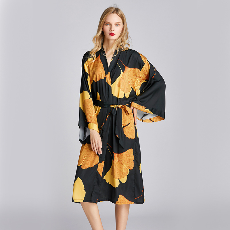 Women Sleepwear Kimono Robe Satin Sexy Bathrobe Gown Black Nightwear Long Sleeve Home Clothing Intimate Lingerie Summer Homewear