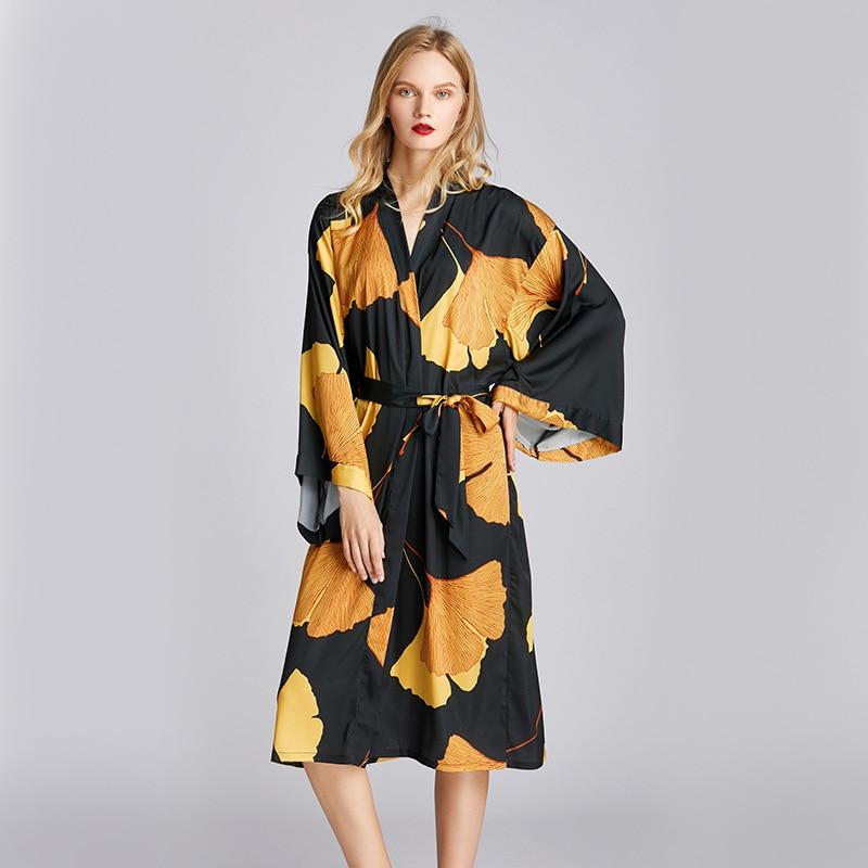 Women Sleepwear Kimono Robe Satin Sexy Bathrobe Gown Black Nightwear Long Sleeve Home Clothing Intimate Lingerie Summer Homewear