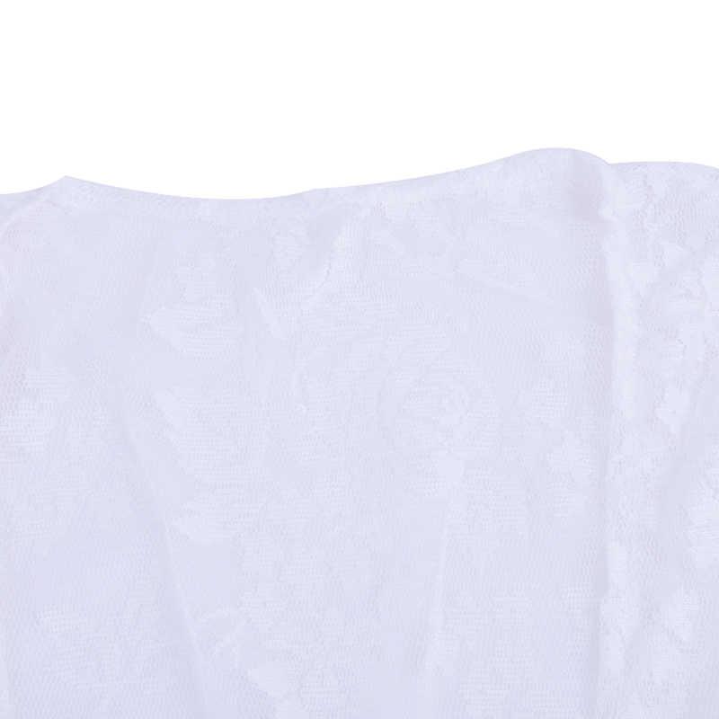 Sfit Bikini Delle Donne Cover-Up Spiaggia Costumi Da Bagno Solido Cardigan Nappa Medio Manicotto Del Merletto Coulisse Trasparente Del Vestito Beachwear