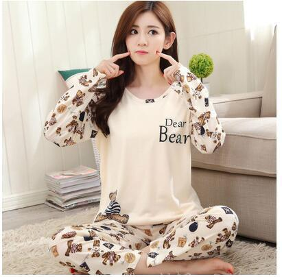 Spring Autumn 20 Style Thin Carton Generation Women pajamas Long Sleepwear Suit Home Women Female Sleep Top Wholesale Pajamas 14