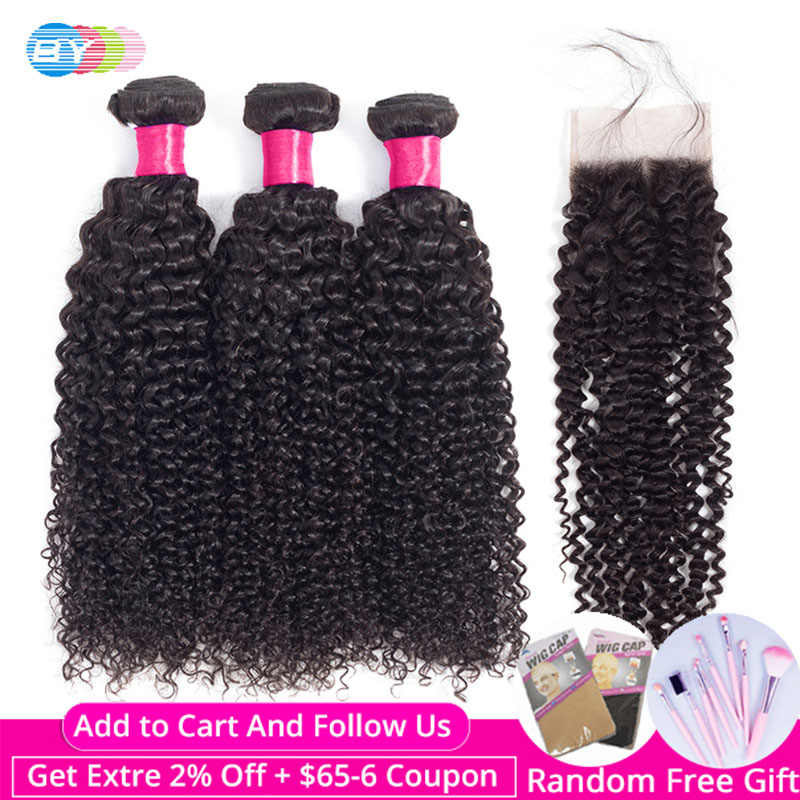 BY Kinky Curly Bundles With Closure Remy Human Hair Bundles With Closure Malaysian Hair Weave Bundles Hair Extension