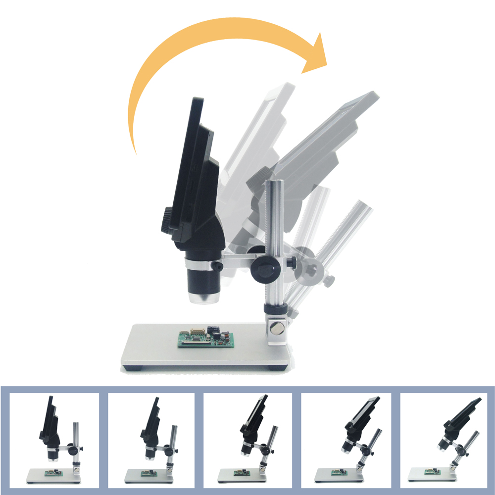 7' HD 12MP 1 1200X LCD Digital Microscope Electronic Video Microscopes Pcb BGA SMT Soldering Phone Repair Magnifier Alloy Stand - 6